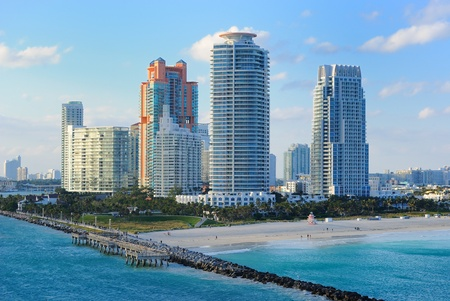 high rise building: Skyline of the city of Miami, Florida. Stock Photo