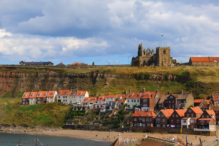 Whitby Abby on West Cliff in Whitby, England. Stock Photo - 9482196