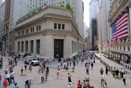 Een weergave van de Stock Exchange op Wall Street in New York City. 4 Juni 2010. Redactioneel