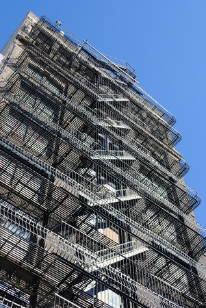 escape: Cascading view of balconies and fire escape.