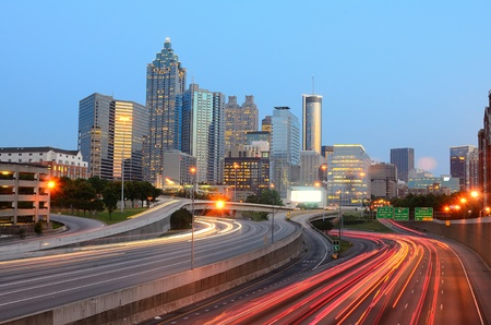 The skyline of Atlanta Georgia with downtown skyscrapers