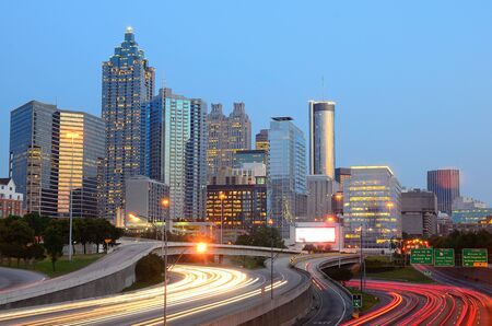 The skyline of Atlanta Georgia with downtown skyscrapers photo