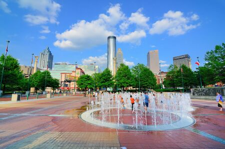 Atlanta, Georgia - May 11, 2011: Centennial-Olympic Park in Downtown Atlanta, Georgia was originally built for the 1996 Olympic Games and still attracts locals to the