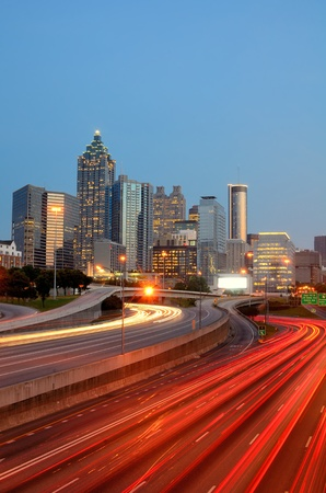 turnpike: The skyline of downtown Atlanta, Georgia. Stock Photo