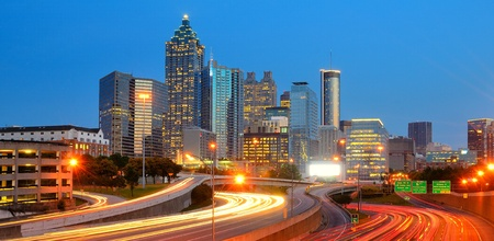 Dusk in Downtown Atlanta, Georgia Banco de Imagens