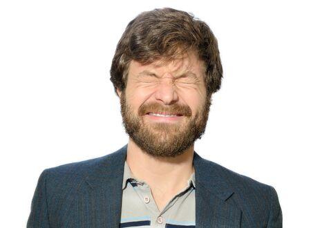 hombre con barba: hombre con una barba bizco