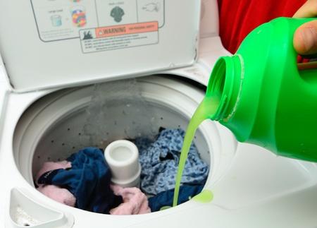 machines: Pouring Detergent into the wash machine.
