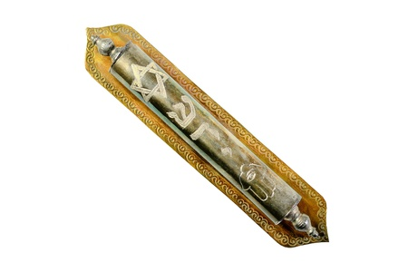 mezuzah: A Jewish Mezuzah contains specific Torah verses and is placed on the doorframe of homes.