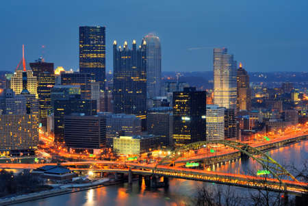 pittsburgh: The skyline of Downtown Pittsburgh, Pennsylvania at twilight.