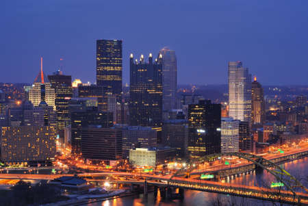 The skyline of Downtown Pittsburgh, Pennsylvania at twilight. photo