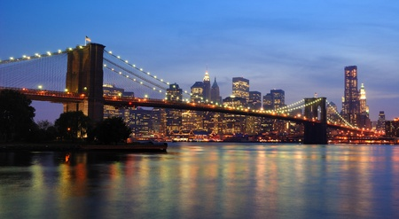 manhattan bridge: brooklyn bridge in new york city Stock Photo