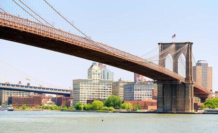 span: Brooklyn Bridge spanning the East River towards Brooklyn in New York City. Stock Photo