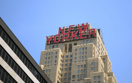 The New Yorker Hotel, built in the Art Deco style of the 1920's and 30's, in New York City.  May 26, 2010. Stock Photo - 9789548