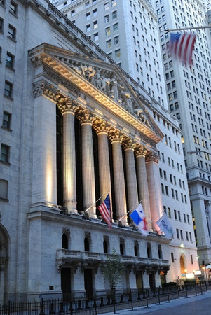 wall street: The landmark new york stock exchange in new york city. october 13, 2010.