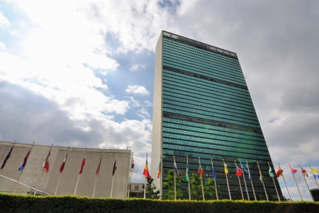 NEW YORK CITY - JUNE 17: The United Nations building in Manhattan is the official headquarters of the UN since 1952 June 17, 2010 in New York, NY. Redakční