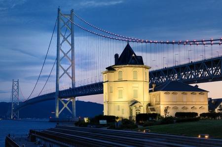 wen: Akashi Kaikyo Bridge and Sun Wen Memorial Hall in Kobe, Japan.