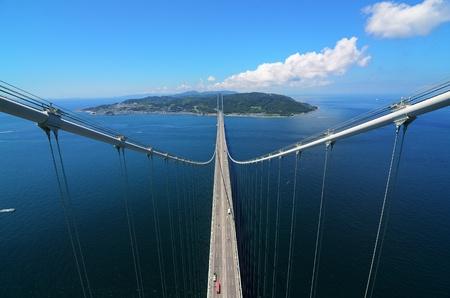 cable bridge: Akashi Kaikyo Bridge in Kobe, Japan Spanning the Seto Inland Sea Stock Photo