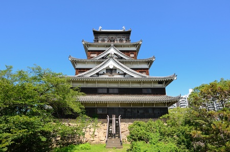 Exterior of Hiroshima Castle in Hiroshima, Japan originally dating from the 1590