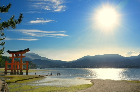 which: The otori gate which welcomes visitors to Miyajima, Japan.