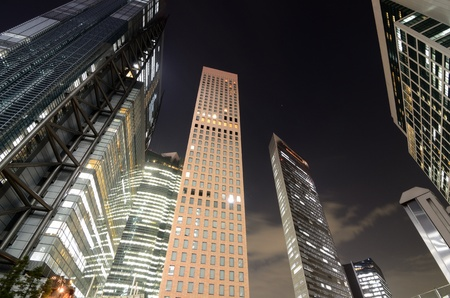 Wolkenkrabbers in Shiodome, Tokyo, Japan. Stockfoto