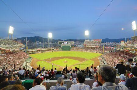 baseball stadium: Hiroshima, Japan - July 14, 2011: The Hiroshima Carps vs the Yokohama Baystars at Mazda Stadium.