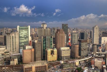 osaka: The skyline of the city of Osaka, Japan.