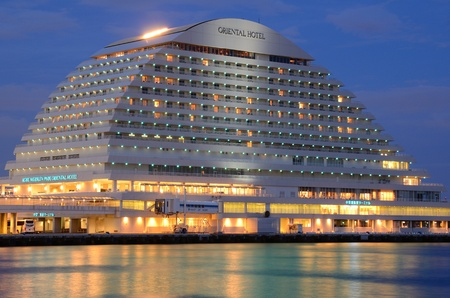 resemble: Kobe, Japan - July 8, 2011: Kobe Meriken Park Oriential Hotel is an iconic building in Harborloand and is designed to resemble a liuxury liner.