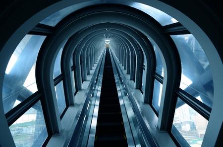 Glass tube escalator Banco de Imagens