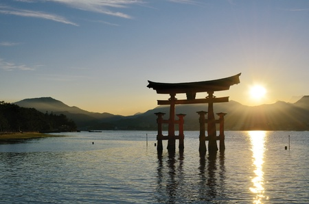 inlet bay: The otori gate which welcomes visitors to Miyajima, Japan.