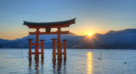 shrine: The otori gate which welcomes visitors to Miyajima, Japan.