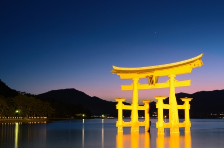 shrine: The otori gate which welcomes visitors to Miyajima, Japan.
