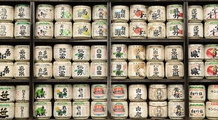 日本酒: 日本の酒のバレル 報道画像