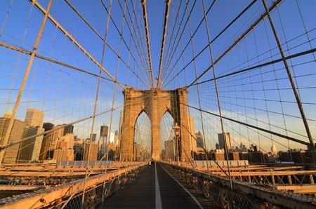 Walkway on the brooklyn bridge in New York City. photo