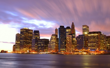 new york at night: View of Downtown New York City