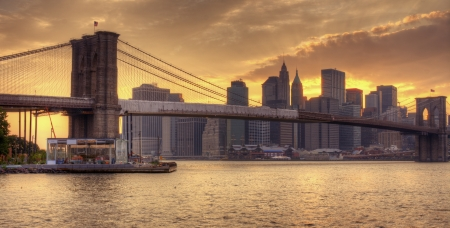 Brooklyn Bridge and Lower Manhattan skyline in New York City.