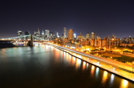View of Downtown New York City and Brooklyn Bridge Stock Photo - 10483860