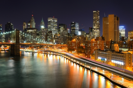 city park skyline: View of Downtown New York City and Brooklyn Bridge