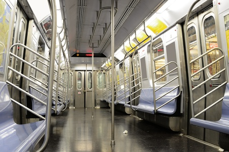 Interior of a the J Train, part of the New York City Subway System.