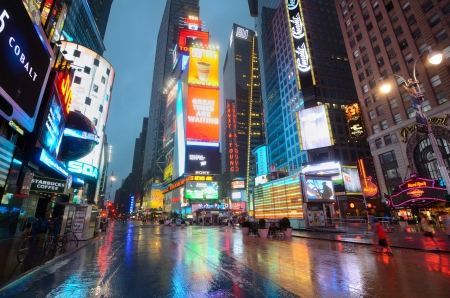 NEW YORK CITY - AUGUST 27: An empty and stormy Times Square as Hurricane Irene passes over on August 27, 2011 in New York, NY.