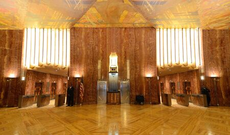 designated: NEW YORK CITY - AUGUST 26: Interior lobby of the Chrysler Building August 26, 2011 in New York, NY. The lobby is designated a national Art Deco interior landmark. Editorial