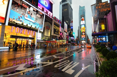 NEW YORK CITY - AUGUST 27: A stormy Times Square as Hurricane Irene passes over on August 27, 2011 in New York, NY.