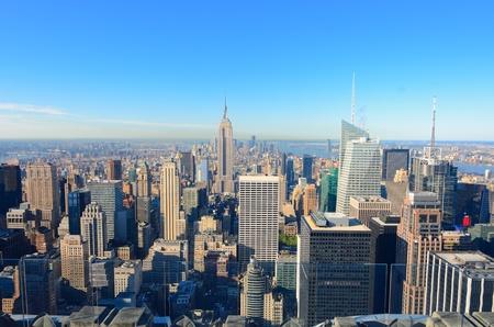 Skyline of Manhattan looking towards downtown with landmark buildings.