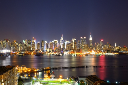 modern city: New York City skyline viewed from Weehawken, New Jersey.