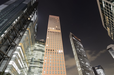 contemporary: High rises at night in Shiodome, Tokyo