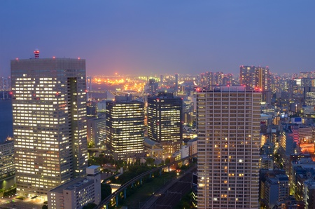 japan sky: With nearly 35 million people, Tokyo, Japan is the world Stock Photo