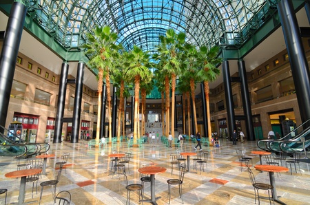 winter garden: NEW YORK CITY - AUGUST 29: Winter Garden Atrium was once connected to the World Trade center and was heavily damaged during the 911 attacks August 29, 2011 in New York, NY.