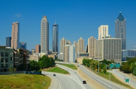 atl: Skyline of downtown Atlanta, Georgia from above Freedom Parkway. Stock Photo
