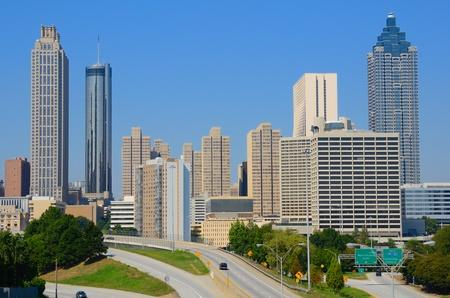 georgia: Skyline of downtown Atlanta, Georgia from above Freedom Parkway. Stock Photo
