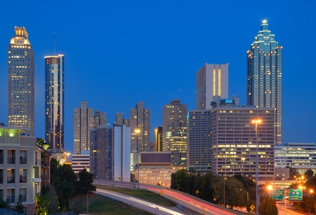 day night: View of skyscrapers in downtown Atlanta, Georgia, USA. Stock Photo