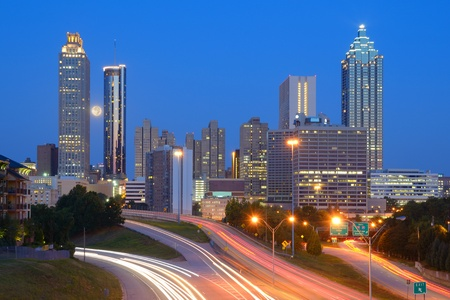 Skyline of downtown Atlanta, Georgia from above Freedom Parkway. Stock Photo